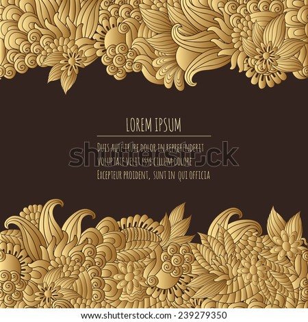 Vector illustration  with hand drawn fantasy plants and flowers, pattern can be used for Corporate identity,  stylish love card, invitation  - stock vector