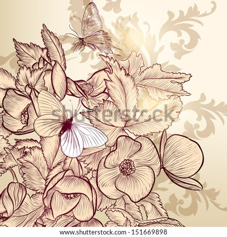 Vector illustration with hand drawn  floral pattern for design