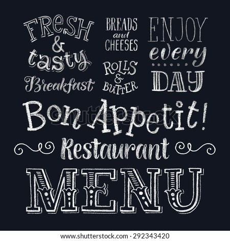 Vector illustration with hand-drawn lettering. Restaurant menu: breakfast, fresh&tasty, breads and cheeses, rolls and butter. Calligraphic and typographic elements on chalk blackboard - stock vector