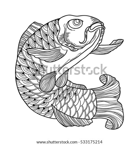 vector illustration with hand drawn outline black koi carp isolated on white background japanese ornate