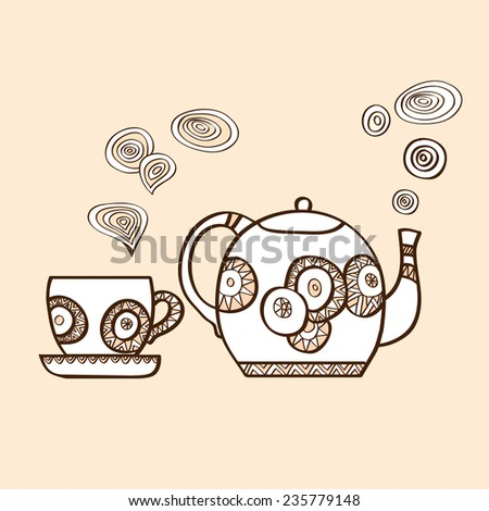 Vector illustration with hand drawn tea cup and tea pot with steam on beige background.  - stock vector