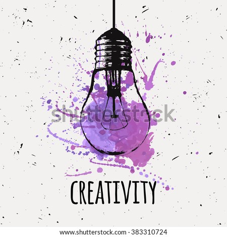 Vector illustration with hanging grunge light bulb with watercolor splash. Modern hipster sketch style. Idea and creativity concept. - stock vector
