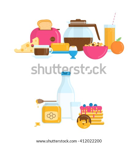 Vector Illustration with Healthy Breakfast in Flat Style - stock vector