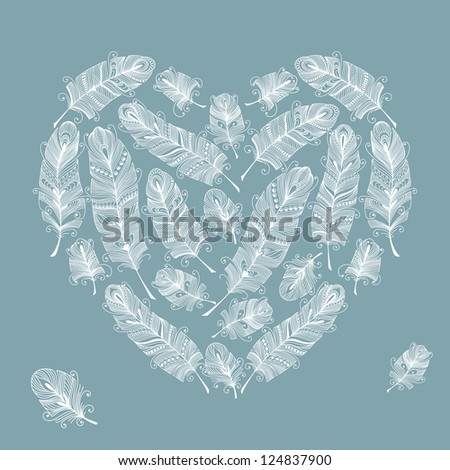 Vector illustration with Heart shaped feathers - stock vector