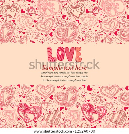 Vector illustration with hearts  and place for your text. Can be used for wedding invitation, card for Valentine's Day or card about love. - stock vector