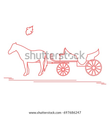 Horse drawn carriage stock images royalty free images vectors vector illustration with horse drawn carriage and oak leaf travel and leisure design ccuart Choice Image