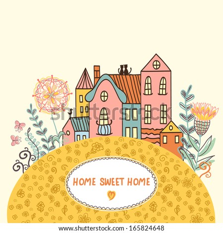 Vector illustration with houses, flowers and butterflies