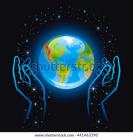 Vector illustration with human hands holding blue Earth planet icon. Space with stars black sky background - stock vector