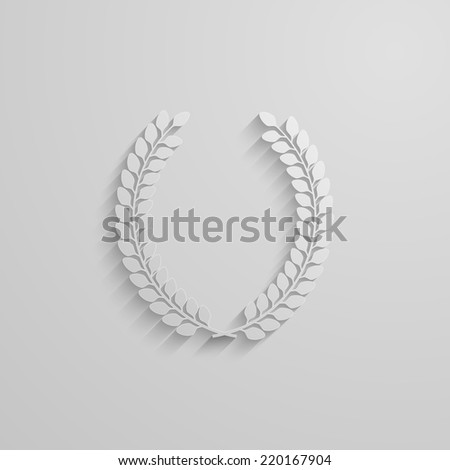 vector illustration with laurel wreath. 3d paper design with long shadow - stock vector