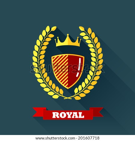 vector illustration with laurel wreath, shield and crown in flat design with long shadow and red ribbon. coat of arms - stock vector