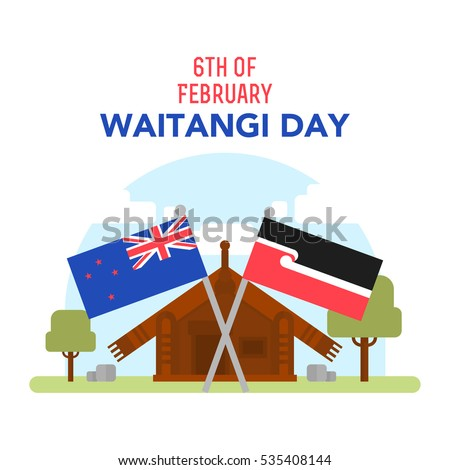 Vector illustration with lettering of New Zealand native inhabitant Maori's house and British and New Zealand flags. New Zealand Waitangi Day on the 6th of February.