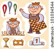 Vector illustration with little chess champion, medals, cup, podium and clock. - stock vector