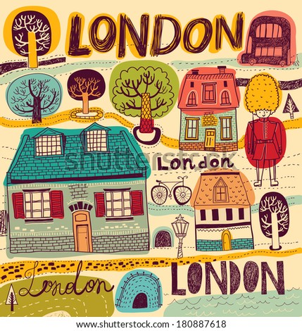 Vector illustration with London symbols in color - stock vector