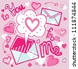 Vector illustration with love letters and hearts on the pink background - stock vector