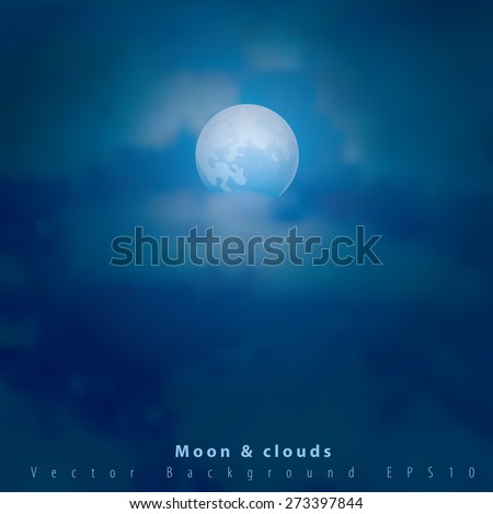 vector illustration with moon and clouds - stock vector