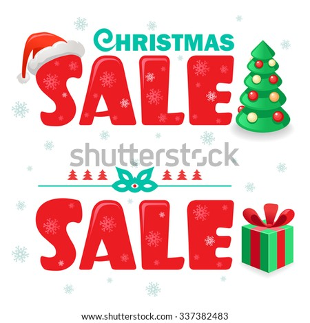 Vector Illustration With New Year Decorative Elements Xmas Sale Stickers Isolated Red Letters