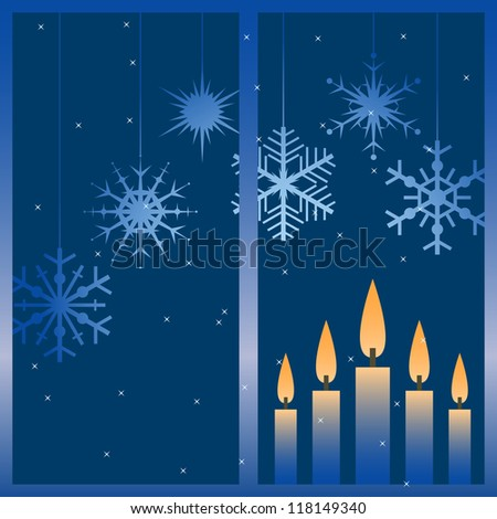 Vector illustration with night winter window and snowflakes. - stock vector