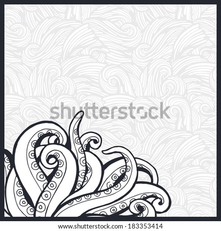 Vector illustration with octopus tentacles. - stock vector