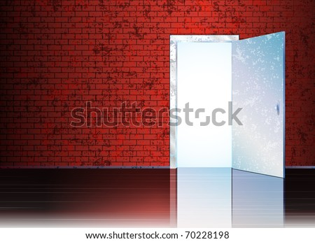 Vector illustration with open door and empty space behind it for your symbol or text. eps10 - stock vector