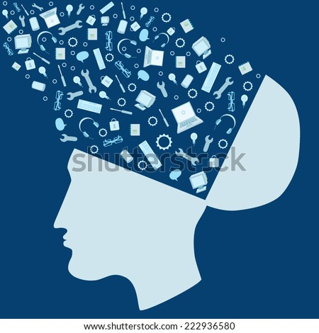 Vector illustration with open head generating ideas - stock vector
