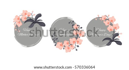 vector illustration with orchids; round, gray background; bundle of greetings cards, stickers or icon, also generic template of an invitation (wedding, birthday, anniversary, or other festive event)