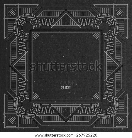 vector illustration with ornate frame on cardboard texture. graceful line art-deco design element - stock vector