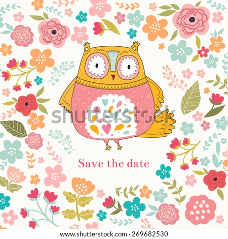 Vector illustration with owl and flowers - stock vector