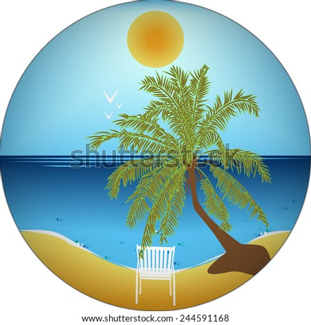 Vector illustration with palm tree and deck chair on the sand - stock vector