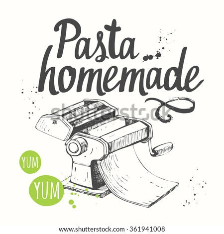 Vector illustration with pasta machine. Sketch design. Italian homemade traditional pasta machine on white background.  - stock vector