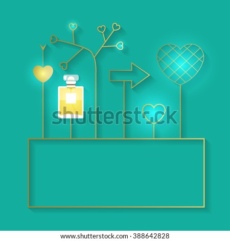 Vector illustration with perfume bottle and golden elements with lights. Fragrance with golden decorative elements. Vector illustration for holiday cards and shopping catalog.  - stock vector