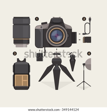 vector illustration with photography elements - stock vector