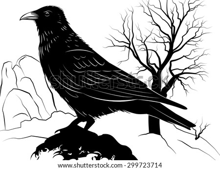 Vector illustration with Raven on a rock on a background of dead tree - stock vector