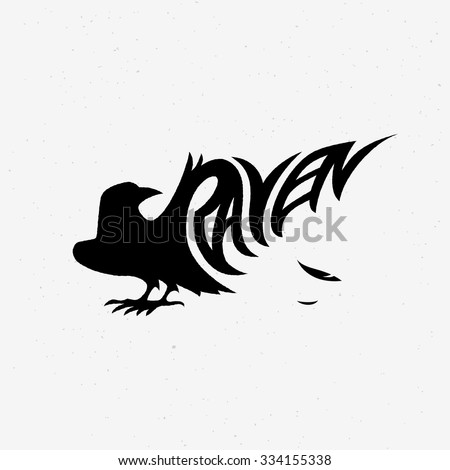 Vector illustration with raven silhouette. Design template for badge, emblem, logo, insignia, sign, identity, poster, card, cover, brochure, t-shirt prints, etc. - stock vector