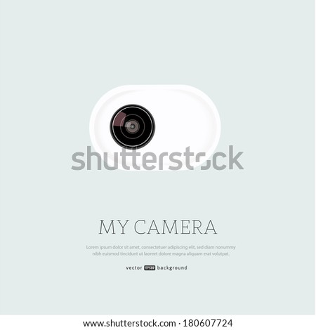 Vector illustration with realistic lens. - stock vector