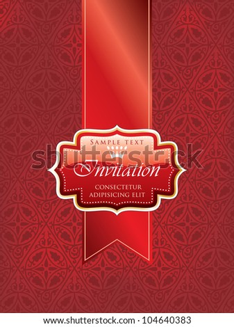 Vector illustration red invitation label on stock vector 104640383 vector illustration with red invitation label on red tape stopboris Images