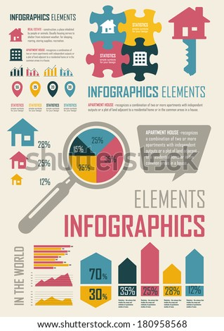 Vector Illustration with retro elements in blue, yellow & pink colors.  Real Estate and high-rise buildings. Statistics, charts and graphs. Simple flat elements and symbols for your design. - stock vector