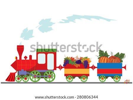 vector illustration with retro locomotive and pumpkins, grapes and  aubergine(EPS 10) - stock vector