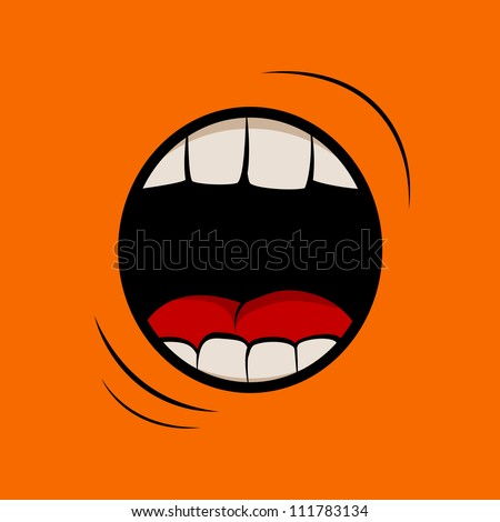 Vector illustration with screaming mouth - stock vector