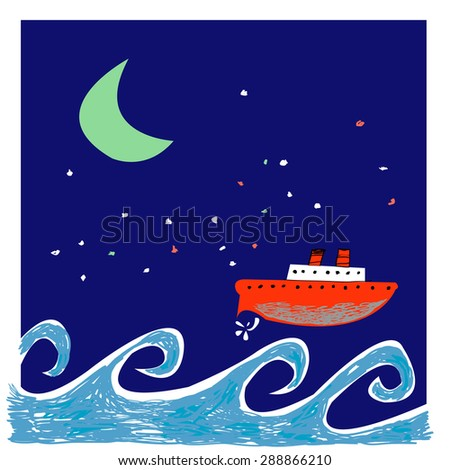 Vector illustration with sea , night sky and ship.