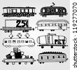 Vector illustration with set of carriages - stock vector