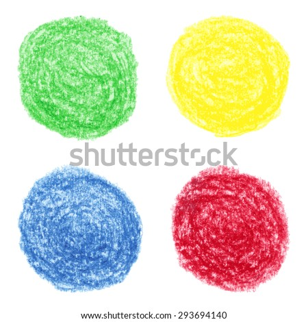 Vector illustration with set of the hand drawn grungy colored crayon spots - stock vector