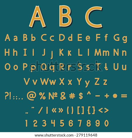Vector illustration with set of the vintage color alphabet and numbers - stock vector