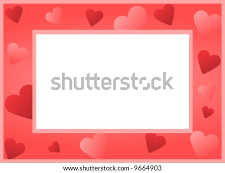 vector illustration with several red and pink hearts and a blank space in the middle, to be used as a picture or text frame or background - stock vector
