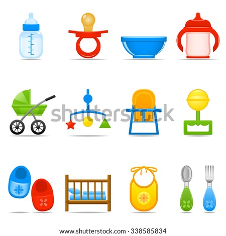 Vector illustration with shiny baby care icons - stock vector