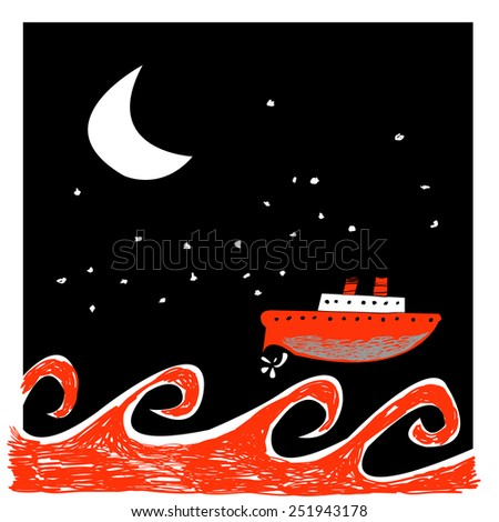 Vector illustration with ship, storm sea and dark starry sky. - stock vector