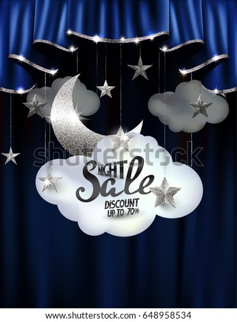 Vector Illustration With Silver Moon And Stars, Clouds And Theater Curtains.  Night Sale