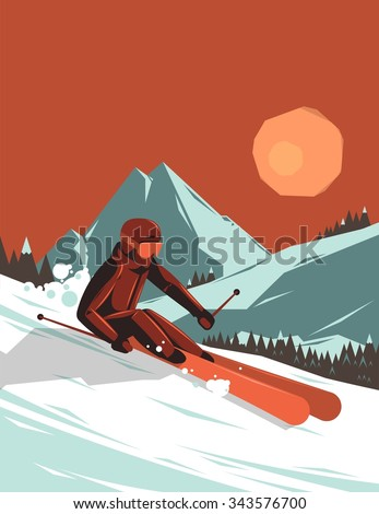vector illustration with skier in the mountains - stock vector