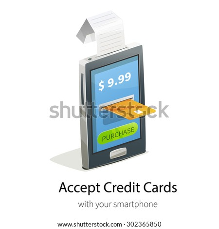 Vector illustration with smartphone, cashier's check and credit card payment.  E-commerce ads banner for design. - stock vector