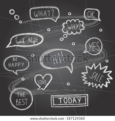 Vector illustration with speech bubbles on chalkboard - stock vector