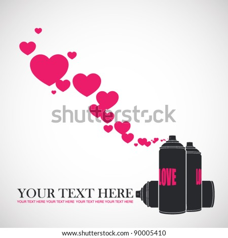 vector illustration with spray can. - stock vector